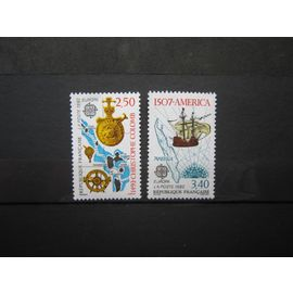 FRANCE. TIMBRES N° 2755 ET 2756 (1992). EUROPA. 500ème ANNIVERSAIRE DE LA DECOUVERTE DE L´AMERIQUE PAR CHRISTOPHE COLOMB