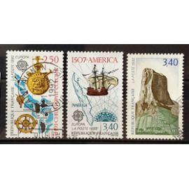Europa 500ème anniv Découverte Amérique - Christophe Colomb 2,50 (N° 2755) + 1507 America 3,40 (N° 2756) + Mont Aiguille (Isère) 3,40 (N° 2762) Obl - France Année 1992 - N20316