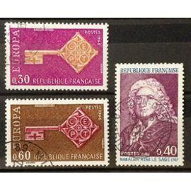 Europa Clé 0,30 (N° 1556) + Europa Clé 0,60 (N° 1557) + Alain René Le Sage 0,40 (N° 1558) Obl - France Année 1968 - N20485