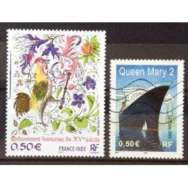 France-Inde - Enluminure Française XVème Siècle 0,50€ (N° 3629) + Paquebot Queen Mary 2 0,50€ (N° 3631) Obl - France Année 2003 - N20180