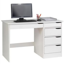 Bureau En Pin Massif Hugo Lasure Blanc