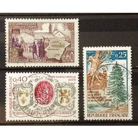 Jumelage Forêts Rambouillet et Noire 0,25 (N° 1561) + Enclave Papes Valréas 0,60 (N° 1562) + Rattachement Flandre 0,40 (N° 1563) Obl - France Année 1968 - N20486