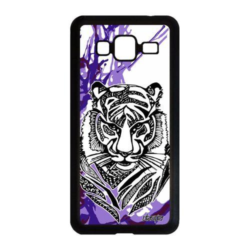 Coque pour Samsung J3 2016 silicone tigre predateur art blanc animal noir Samsung Galaxy J3 2016