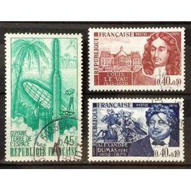 Personnages Célèbres - Louis Le Vau (N° 1623) + Alexandre Dumas (N° 1628) + Guyane Terre Espace Fusée Diamant B 0,45 émeraude (N° 1635) Obl - France Année 1970 - N20478