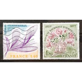 Société Nationale d'Horticulture 1,70 (N° 1930) + Floralies Internationales Nantes 1,40 (N° 1931) Obl - France Année 1977 - N20440