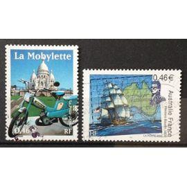 Transports - La Mobylette 0,46€ (N° 3472) + Australie France - Rencontre Navigateurs 0,46€ (N° 3476) Obl - France Année 2002 - N20153