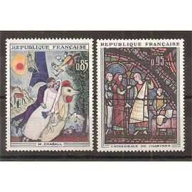1398 - 1399 (1963) Chagall - Cathédrale de Chartres N** (cote 3e) (5354)