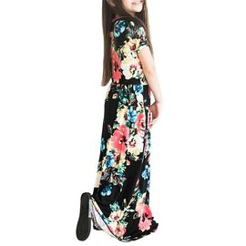 regarder a9bd9 6fb0b Robe Longue Fille Manches Courte ?té Imprimé Fleur Robe Enfant Fille 2-10  ans