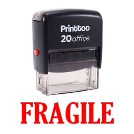 bureau printtoo papeterie personnalisée timbre fragile self encrage rubber stamp -rouge