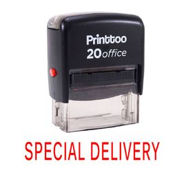 bureau printtoo papeterie personnalisée timbre special delivery self encrage rubber stamp -rouge
