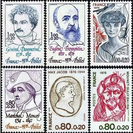 France 1976, t. belle série personnages, yvert 1880 moncey 1881 max jacob 1882 mounet sully 1896 daumesnil 1897 fromentin 1898 anna de noailles, neufs** luxe