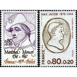 france 1976, très beaux exemplaires yvert 1880 maréchal moncey et 1881 max jacob, neufs** luxe
