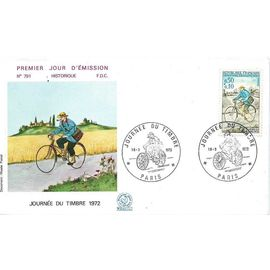 france 1972, très belle enveloppe 1er jour FDC 791, journée du timbre, timbre 1710 facteur rural à bicyclette en 1894, état neuf - non close.
