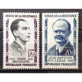 Résistants 1957 - Pierre Brossolette 18f (N° 1103) + Jean-Baptiste Lebas 20f (N° 1104) Neufs* - France Année 1957 - N20710
