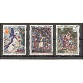 1398 - 1399 et 1376 (1963) Chagall / Cathédrale de Chartres / Delacroix N** (cote 8e) (1495)