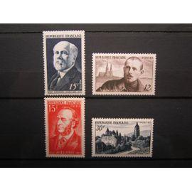 France. Timbres de 1950 et 1951. N°864 (1950) Raymond Poincaré. N° 865 (1950) Charles Péguy et cathédrale de Chartres. N° 880 (1951) Jules Ferry. N°905 (1951) Vue d Arbois