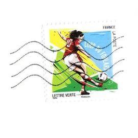 timbre france oblitéré sur fragment d'enveloppe - Lettre verte coup du foulard- 2016
