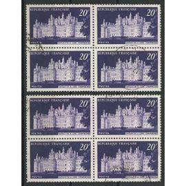 Lot de deux blocs de quatre timbres oblitérés chateau de Chambord n° 924