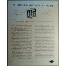 Notice Philatélique Ministère des Postes de Télécommunications 1967 n°27 Timbre n°1532 YT 25e Anniversaire de Bir-Hakeim Oblitéré
