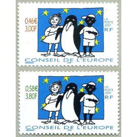 """france 2001, très belle paire neuve** luxe timbres de service du conseil de l'europe, oeuvre de tomi ungerer """"je suis noir, je suis blanc""""."""