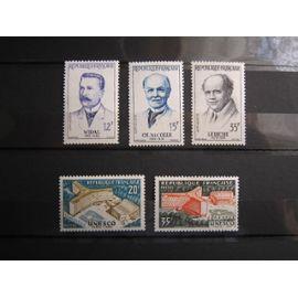 FRANCE. TIMBRES DE 1958. N°1143, 1144, 1145 (GRANDS MÉDECINS), 1177, 1178 (INAUGURATION DU PALAIS DE L UNESCO À PARIS)