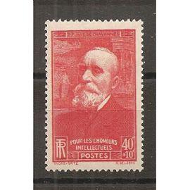 436 (1939) Puvis de Chavannes 40c + 10c rouge N* (cote 0,9e) (5818)