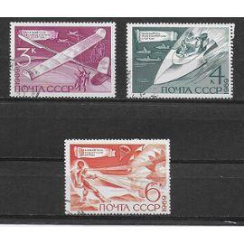 RUSSIE 1969 : Sports techniques : Aéromodélisme / Sports nautiques / Parachutisme - Série entière de 3 timbres obliitérés