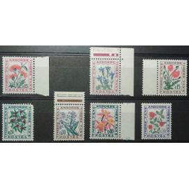 Lot 7 Timbres Taxe Andorre 1964 à 1971 Yvert et Tellier n°46 (Bdf), 47 (Cdf), 48 (Bdf), 49, 50 (Bdf), 51 (Bdf) et 52 Neufs**