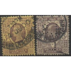 Grande Bretagne: Lot de 2 timbres de 1887 représentant l'un le roi Edouard VII et l'autre la reine Victoria