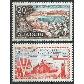 Lot de deux timbres 1954 avec trace de charnière* n° 981, 983