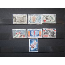 FRANCE.TIMBRES DE 1963 ET 1964.N°1387 CONF. POST. INTERNATIONALE.N°1389 CONGRÈS FÉD. STÉS. PHILATÉLIQ.N°1395 SKI NAUTIQUE.N°1403 PHILATEC 1964.N°1404 PROTECT. CIVILE.N°1428 JO TOKYO.N°1429 VICT MARNE