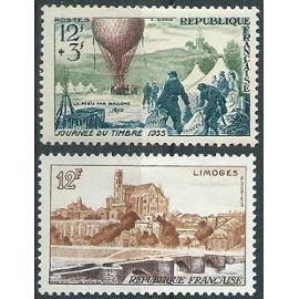 Journée du timbre 1955 et vue de Limoges avec trace de charnière* n° 1018 et 1019