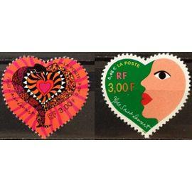france 2000, très belle paire neuve** luxe yvert 3295 et 3296, le coeur ne me quitte jamais par yves saint laurent, issus du feuillet.
