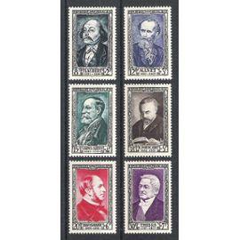 france, 1952, célébrités et personnages célèbres du 19è siècle, n°930 à 935, neufs.