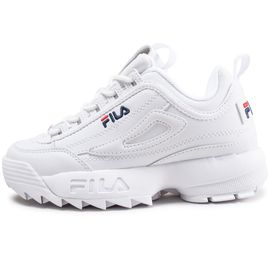cute autumn shoes for whole family Fila Disruptor Ii Junior Blanche Logo Bleu Baskets