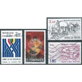 france, joli lot 1982, yvert 2206 métiers d'art, ferronnier, 2214 synthèse graphique, 2218 frédéric et irène joliot curie, 2246 koch, bacile de la tuberculose, obli, TBE