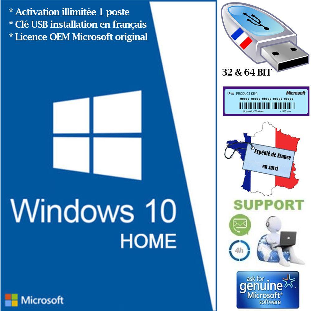 foto de Pack Clé USB Windows 10 Home français avec licence, 32 et 64 BIT ...