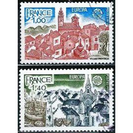 france 1977, belle paire europa, yvert 1928 village provençal et 1929 port breton, oblitérés, TBE