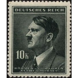 tchécoslovaquie, occupation allemande, bohème et moravie 1942, très bel exemplaire yvert 95, portrait du chancelier hitler 10K. vert gris, neuf** luxe