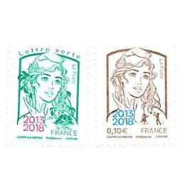 Timbres Marianne de Ciappa et Kawena surchargée 2013-2018 Paris Philex 2018
