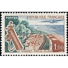 france 1962, très bel exemplaire neuf** luxe yvert 1355, le touquet paris plage.