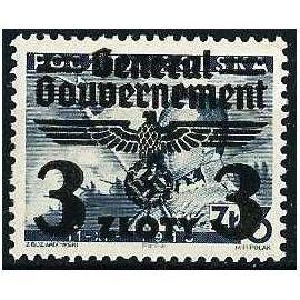 Pologne, Occupation Allemande, Gouvernement Général ,1940, Yv. 50, 3/3 Zl. . Timbre Polonais Surchargé Avec Grand Aigle, Croix Gammée, Et Valeur En Zloty, Neuf** luxe