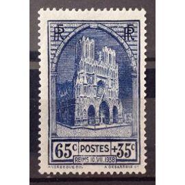 Cathédrale de Reims 65c+35c (Superbe n° 399) Neuf* - Cote 10,00€ - France Année 1938 - N21267