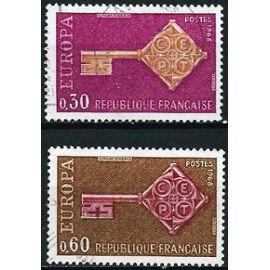 france 1968, belle paire europa, yvert 1556 et 1557, oblitérée, TBE