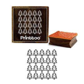 printtoo carré de motif de sapin artisanat carte de journal de blocs de timbre en caoutchouc 2 x 2 pouces en bois