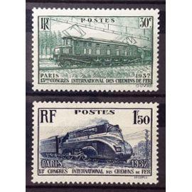 Série Congrès Chemins de Fer de 1937 - Locos / Locomotives / Trains - N° 339-340 Neufs** Luxe - Cote 18,70€ - France Année 1937 - N21142