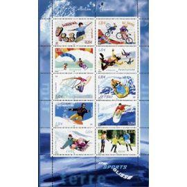 france 2004, série collection jeunesse : les sports de glisse, très beau bloc feuillet 76 timbres n° 3691 à 3700, skateboard bi-cross parapente parachutisme jetski... neuf** luxe