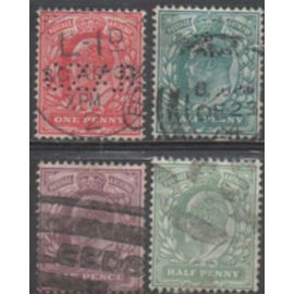 Grande Bretagne: Lot de 4 Timbres de la même série émis en 1802 et représentant le roi Edward VII.