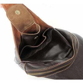 Everdoss Hommes sac de poitrine en cuir v/éritable sac banane sac de messager sac de sport en plein-air sac de loisirs