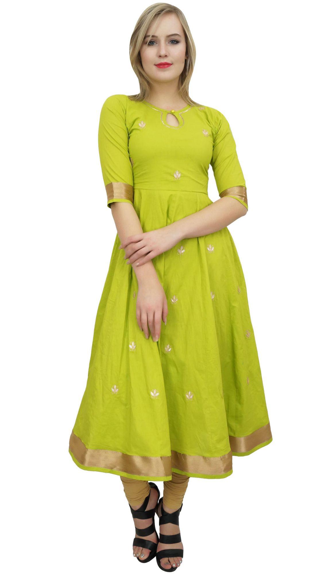 Bimba Designer Anarkali Kurta Indien Gota Travail Coton Kurti